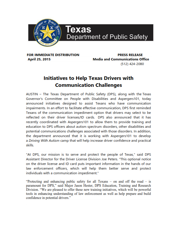 Texas DPS Press Release - Initiatives to Help Texas Drivers with Communication Challenges